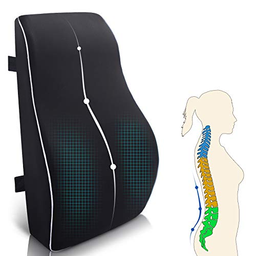 Rücken-Kissen Auto Rücken-Kissen Lendenkissen für bürostuhl Memory Foam Rücken-Kissen geeignet für Zuhause, Büro, Auto, Rollstuhl Schwarz groß