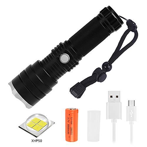Linterna LED Recargable, 3000 Lúmenes Linterna XHP50 con Batería 26650 de Gran Capacidad, 3 Modos, IPX4 Impermeable, Súper Brillante Linterna Táctica para Camping, Senderismo y Observación Nocturna