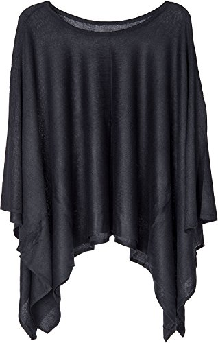 styleBREAKER Feinstrick Poncho leicht und Unifarben, Rundhals, Damen 08010047, Farbe:Schwarz