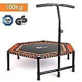 amzdeal Fitness Trampoline Indoor Jumping avec Poignée en Forme T Réglable en Hauteur pour Enfants et Adultes Trampoline de Fitness Intérieur/Extérieur