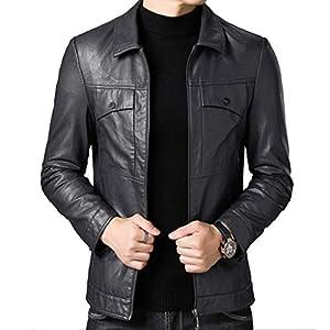 ジャケット メンズレザージャケット、秋と冬の新しいジャケット、ラペルスリムジャケット、薄いセクションプラスベルベット若い男性のオートバイの革 (Color : Gray, Size : L)