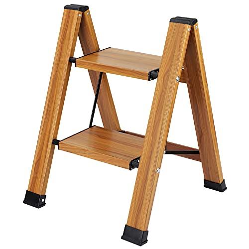 Taburete Escalera Plegable 2 Peldaños Capacidad 150 KG, Escalera Doméstica de 2 Peldaños Antideslizante, Taburete Plegable de Cocina de 2 Escalones, Escalerilla 2 Peldaños de Aluminio Escalera