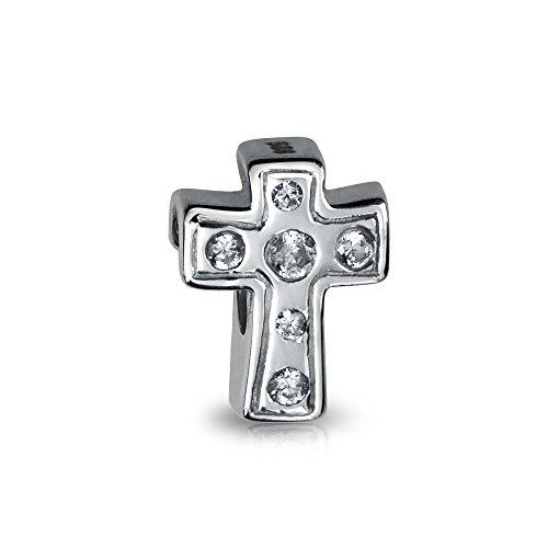 Dulce Cruz Blanca Religiosa CZ Corazón Charm Abalorio para Mujer Adolescente Comunión 925 Encaja Pulsera Europea