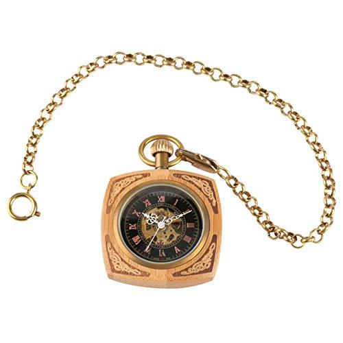 J-Love Reloj Bolsillo Retro, Exquisito Reloj Bolsillo mecánico con Pantalla números Romanos con Cadena Llavero Dorado, Reloj Retro Unisex, Regalo