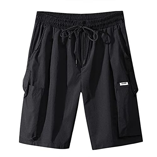 Pistaz Mono para hombre, estilo vintage, cargo, pantalón corto de sudadera, bermudas, pantalón de verano, holgado, estilo cargo, Negro , 40W
