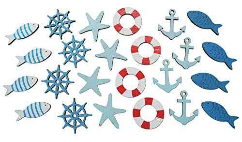 Shoreside Nautical Coastal Cruise Ship Miniature Beach Themed Arts and Crafts Wood Cut Outs Sea Ring, Anchor, Captain Wheel, Fish, and Starfish (24 Pieces)