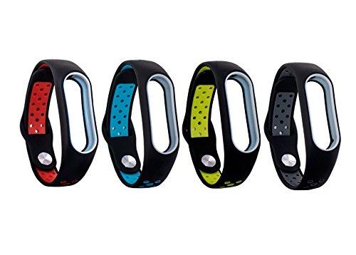 Kit 4 pulseiras extras para MI BAND 2 (Preto_vermelho/Preto_azul/preto_verde/preto_cinza estilo nike)