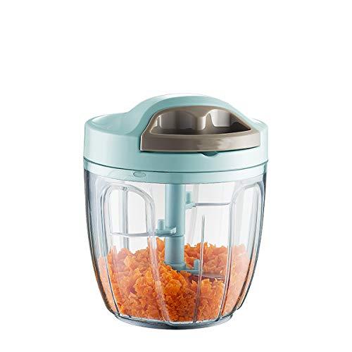 Picador manual de alimentos, procesador de alimentos para cebolla, cortador de alimentos para verduras, frutas vegetales, cebolla y ajo, cortador de alimentos rápido Chopper mini Slicer-900 ml