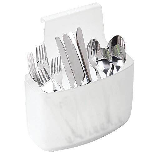 mDesign Organizador de armarios – Colgador para Puerta Grande para Guardar cucharones, cucharas de Palo y Otros Utensilios – Sistemas de Almacenamiento para Cocina, Oficina o Garaje – Transparente