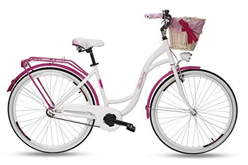 Goetze Blueberry Vintage Retro Citybike Damenfahrrad Hollandrad, 1 Gang, Tiefeinsteiger, Rücktrittbremse, 28 Zoll Alu Räder, Korb mit Bezug Gratis!