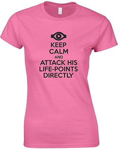 Keep Calm and Attack His Life-Points Directly, Mesdames T-Shirt imprimé - Azalée/Noir S = 78-81cm