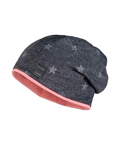 maximo Mädchen Beanie-Mütze, anthrazit-Silber-Sterne, 55