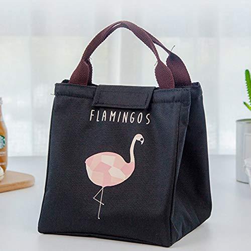 Triamisul Bolsa de Almuerzo de Flamingo de Dibujos Animados Lindo Bolsa de Aislamiento Térmico Portátil Viaje Picnic Bolsa de Enfriador de Comida Mantener Caliente Tote de Almacenamiento
