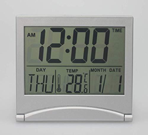 デジタル コンパクト 時計 デスククオーツ 置き時計 目覚まし時計 アラーム 机の上 ベットサイドに 軽量 持ち歩き 旅行携帯 近眼 老眼でも 裸眼で見えやすい大きさ表示