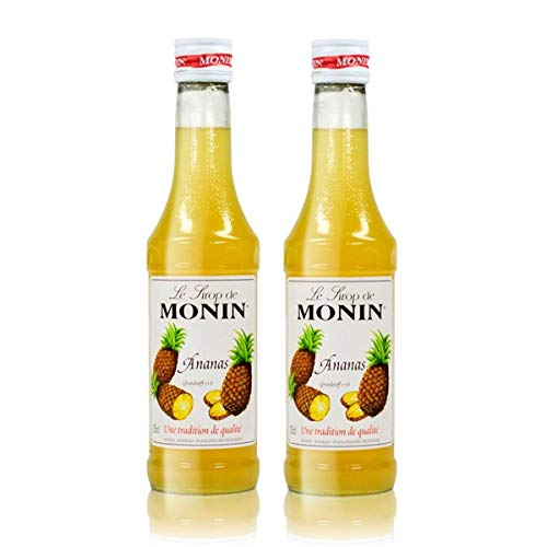 2x Monin Ananas Sirup, 250 ml Flasche - für Cocktails, zum Kaffee oder Kochen