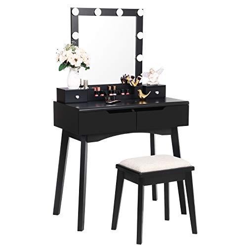 ANWBROAD Tocador con espejo iluminado, 10 bombillas LED, mesa con 4 cajones, 2 separadores para manualidades, taburete acolchado, organizador móvil, color negro BDT06B