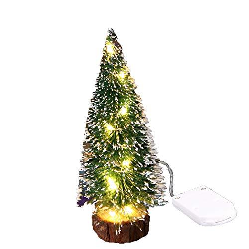 Zoungh Kleiner Schnee-Weihnachtsbaum mit LED-Lichtern - Mini Desktop Decoration Tree Weiße und rosa Mini Pine Tree für Weihnachtsferien Dekoration