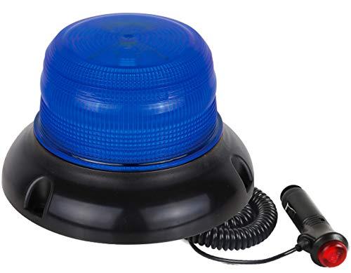 Rotativo de Señalización Azul · Homologado R65 · LED · Coche y camión · mechero a 12 V y 24 V · Base Magnética · Emergencia Azul