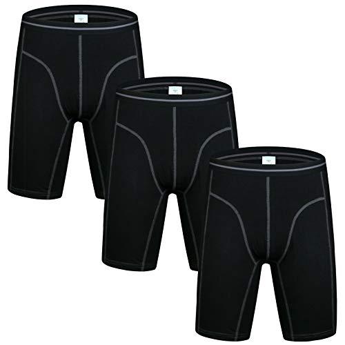Nuofengkudu Herren Langes Bein Sport Boxershorts Männer Nahtlose Baumwolle Bequeme Unterhosen Bulge Unterwäsche Shorts (3er Pack) Schwarz XL