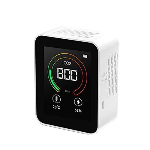 CO2 Messgerät KKmoon Kohlendioxid Detektor 400-5000ppm,Intelligent CO2/Temperatur/Feuchtigkeits Tester CO2-Nachweisempfindlichkeit 1ppm,Wiederaufladbare Verwenden/Dauerbetrieb mit angeschlossenem USB