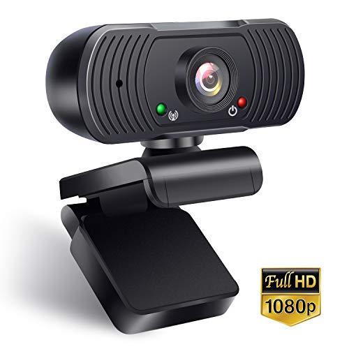 Webcam Mit Mikrofon 1080p,Autofokus,Belichtungskorrektur,USB Computerkamera,Geräuschreduzierung-Mikrofone,Zusammenklappbarem Design für PC Laptop und Weitwinkel für Videoanrufe Lernen Konferenz