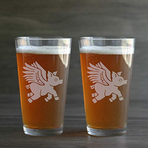 FLYING PIG Beer Glasses set of 2 - Dishwasher-safe winged pig etched pint glasses