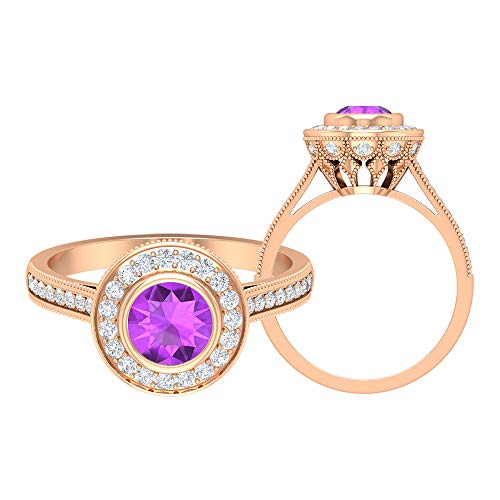 Anillo de compromiso de 1,38 quilates creado en laboratorio, anillo de compromiso con halo de diamantes HI-SI, anillo solitario con piedras laterales, anillo de corona de oro de 14 quilates morado