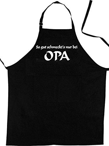 ShirtShop-Saar Opa Schürze: SO GUT SCHMECKTS NUR BEI Opa; Koch - Schürze (Latzschürze - Grillen, Kochen, Berufsbekleidung), schwarz