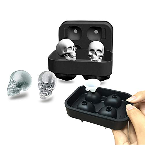 Haoshangzh55 Schädel EIS Gitter New 4 Skeleton EIS Gitter Halloween-Schädel-EIS-Molded Ice Box Mit Trichter