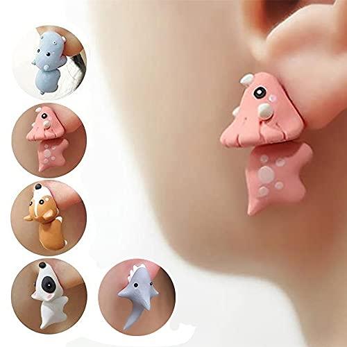 XFSSFWB Pendiente de mordida Animal Lindo - Pendientes de Arcilla 3D Hechos a Mano, Pendientes de Polimer de Polimer Soft Soft Potimer para Mujeres Chicas (Color : 5pairs)