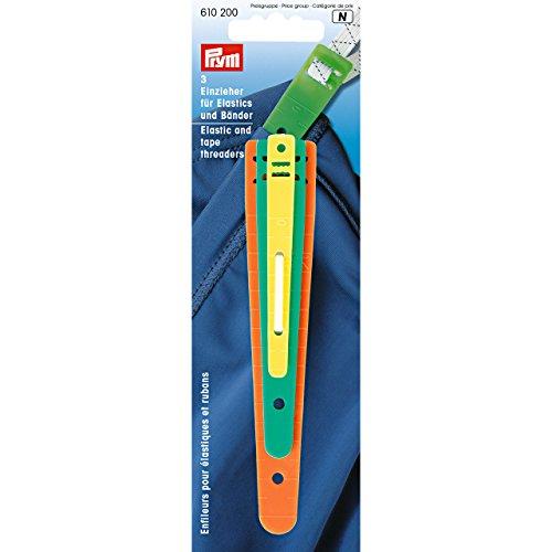Prym Einzieher für Bänder und Litzen, Kunststoff, orange, grün, gelb, 6, 12, 18 mm
