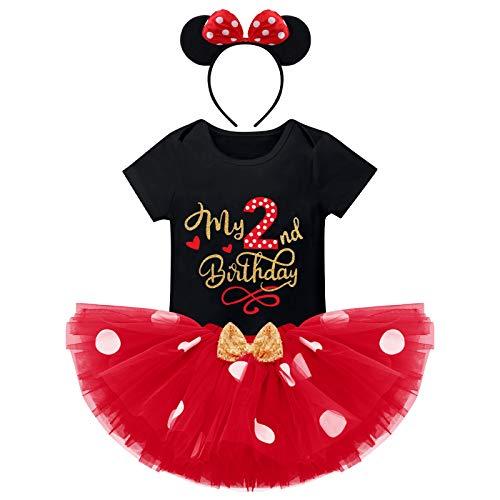 FYMNSI Recién Nacida Bebé Niñas Segundo 2do Cumpleaños Trajes Conjuntos Disfraz De Minnie Princesa Vestido Tutu Manga Corta Mameluco Lunares Falda Oído Diadema 3 Piezas Set Negro 2 Años