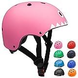 KORIMEFA Casco Bicicleta para Niños Casco Infantil Ajustable para Monopatín Patinaje BMX Esquiar, Casco para multibles Deportes niño niña de Edad de 3-13 años (Tiburon Rosa, M)