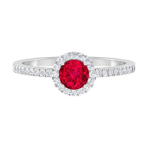 Anillo de halo solitario, anillo de 5 mm de rodolita, anillo de compromiso de diamantes HI-SI, anillo de piedra lateral, 14K White Gold, Rhodolite, Size:US 67
