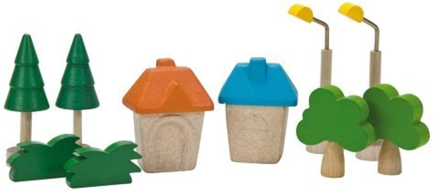 Plan Toys City Road and Rail City Accessories by Plan Toys