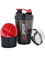 SHIVONIC Shake & Sip Spider Protein Shaker Bottle for Gym - Multi Vitamins Pills and Supplements Storage Two Compartments Sports & Fitness Sipper Bottles, 500 ml (RED)