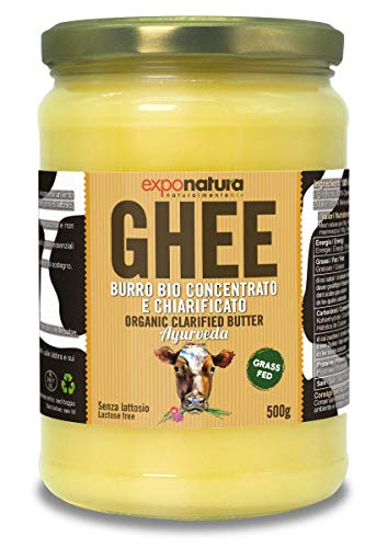 Ghee Bio 500g - beurre clarifié selon l'ancienne recette ayurvédique - uniquement à partir du lait de vaches au pâturage - extrêmement digestible sans lactose - Exponatura