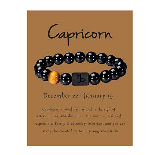 VLINRAS Zodiac Capricorn Bracelet for Men Women Capricorn Gifts Natural Black Onyx Stone Zodiac Charm Bracelet Constellation Horoscope Jewelry
