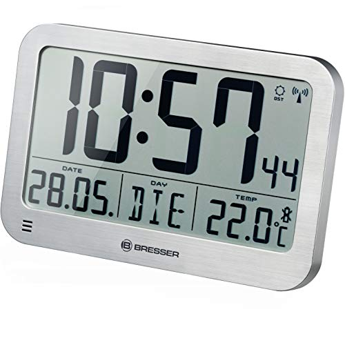 Bresser digitale Wanduhr MyTime MC LCD Wand Tischuhr 225x150mm mit Thermometer, silber