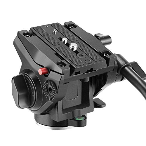 Neewer Metal Heavy Duty Video Camera Tripod Fluid Drag Pan Head with 1/4 and 3/8 inches Screws Sliding Plate for DSLR Cameras Video Camcorders Shooting Filming, up to 11 pounds/5 kilograms
