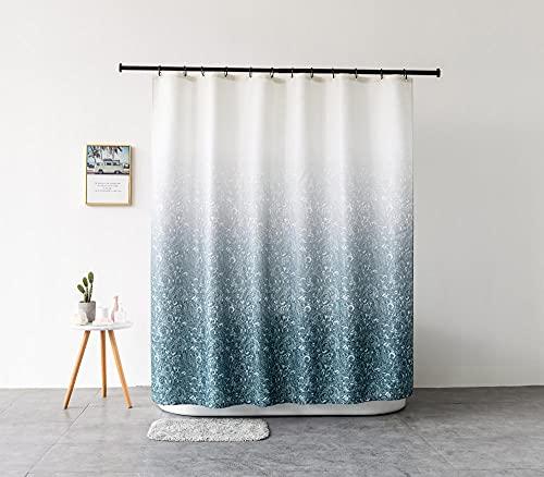 TopTree Duschvorhang Polyester für Badewanne & Bathroom Wasserdicht Antischimmel Duschvorhänge Waschbar Shower Curtains 150x180cm mit 12 Plastik Duschvorhangringe (Farbverlauf Roland)