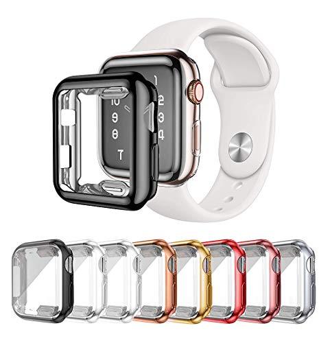 LOBKIN 8-Stück Hülle Kompatibel mit Apple Watch Series 3 Series 2 Series 1, HD Clear Ultra-Thin TPU Displayschutz, 360°Schutzhülle für iWatch Series 3/2/1 (38mm)