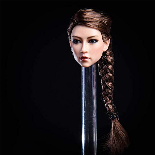 Leying 1/6 Escala Soldado Mujer Asiática Realista Cabeza Escultura Colección Modelo De Juguete Pelo Corto Cola De Caballo (Ponytail Hair)
