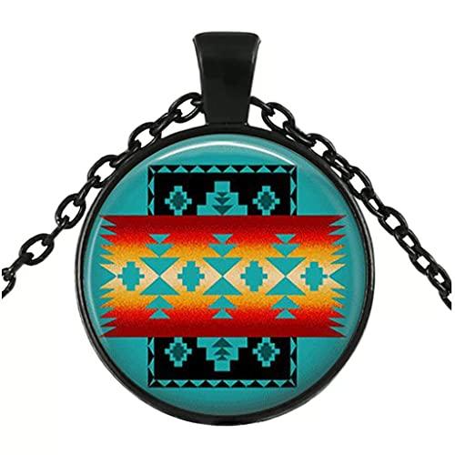LINANNAN Collar de Vidrio Joyería nativa Americana Surowestern Collar Joyería de Cristal Joyería Negra Collar Negro