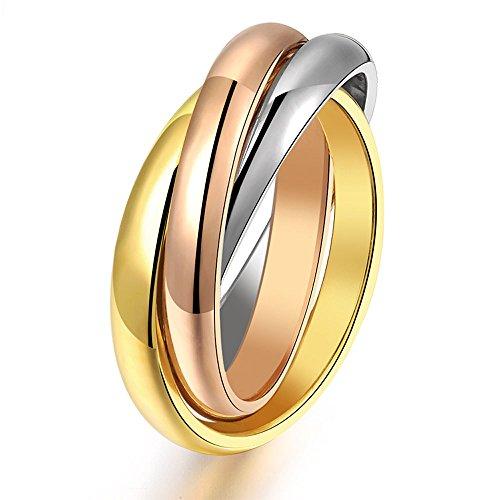 USUASI Anillo tricolor de acero de titanio con tres anillos dorado