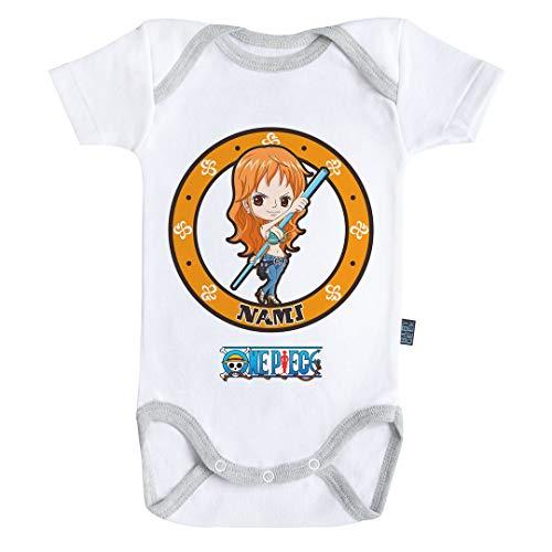 Baby Geek Emblème Nami - One Piece ™ - Licence Officielle - Body Bébé Manches Courtes (6-12 Mois)
