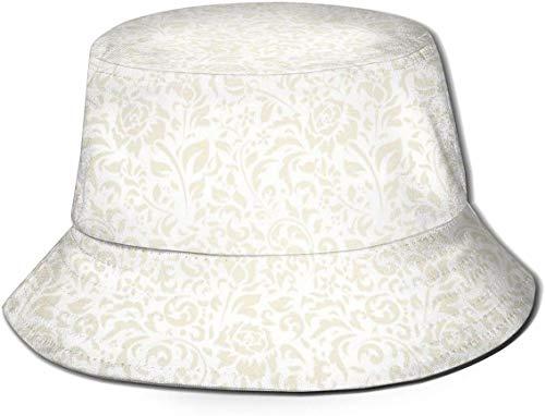 Sombreros de Cubo Transpirables con Parte Superior Plana Unisex Sombrero de Cubo con Textura de Cuero de Piel Verde Sombrero de Pescador de Verano-Floral Vintage-Talla única