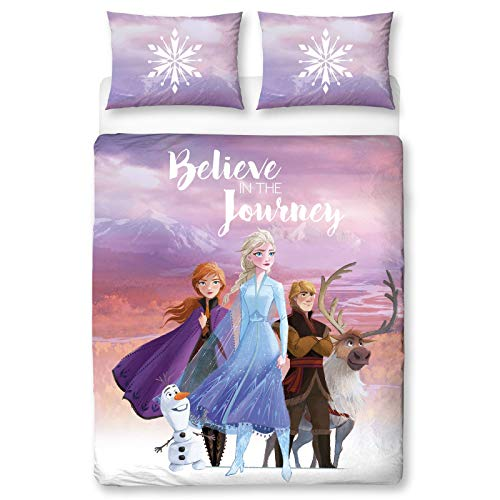 Frozen 2 Disney Double Polycotton Duvet Cover | Officially Licensed Reversible Two Sided Olaf, Anna, Elsa, Kristoff and Sven Design with Matching Pillowcase