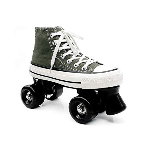 ZXSZX Casual Canvas Quad Rollschuhe, High Top Sneaker Style Für Indoor/Outdoor Skating Mädchen Und Jungen Unisex Anfänger, Ideal Für Anfänger Teenager Jugend,Green-37