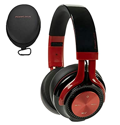 PowerLocus P3 Bluetooth Headphones Over-Ear, [40h Playtime, Bluetooth V5.0] Wireless Headset Hi-Fi Stereo Headphone, Foldable with Mic, Deep Bass, Wired Mode for Cell Phones/Laptop/PC/TV (Black/Red) by PowerLocus